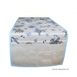Table runner in cotton sea fantasy handmade made in Italy