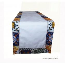Runner da tavolo in cotone maiolica siciliana fascia stretta
