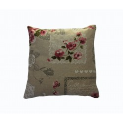 Shabby chic throw pillow in cotton with flower print