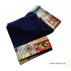 High quality terry beach towel with Sicilian cart print...