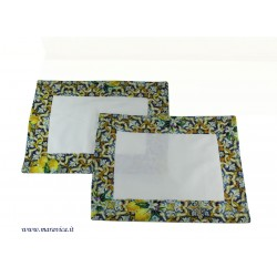 Set of 2 American placemats in Caltagirone majolica...
