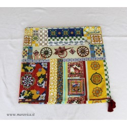 Sicilian cart patterned printed cotton tablecloth