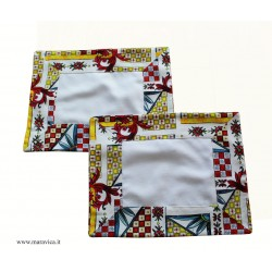 Set of 2 American placemats in cotton sicilian pattern