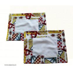 Set 2 tovagliette americane in cotone bianco con bordi...