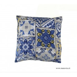 copy of Fancy Sicilian blue yellow majolica cushion with...