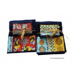 Set 2 pairs of towel for face and guest navy blue...