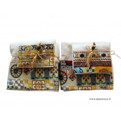 Set 2 pairs of towel for face and guest white ivory...