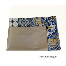 Beige cotton tablecloth with majolica print border with...