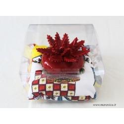Aloe plant in Sicilian ceramic from Caltagirone in red...