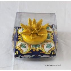 Aloe plant in Sicilian ceramic from Caltagirone in yellow...