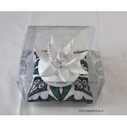 Aloe plant in Sicilian ceramic Caltagirone in  white...