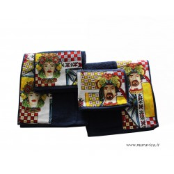 Set 2 pairs of towel for face and guest navy blue moorish...