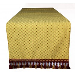 Elegant Christmas table runner in gold damask with fringe