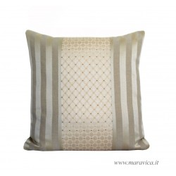 Elegant throw pillow in ivory and gold damask