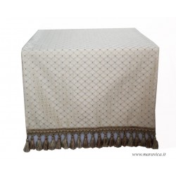 Elegant table runner in ivory damask with fringe