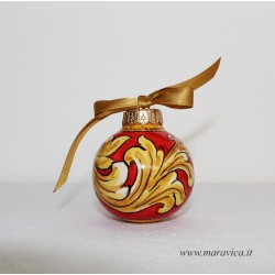 Red and gold handpainted sicilian ceramic Christmas ball...