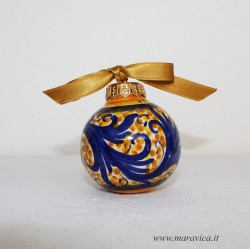 Blue and gold handpainted sicilian ceramic Christmas ball...