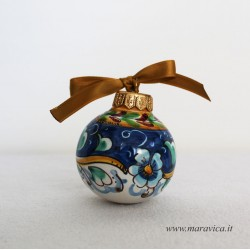 Hand-decorated ceramic Christmas ball with flowers...