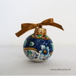 Pallina natalizia in ceramica decorata a mano decoro...