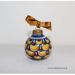 Hand-decorated ceramic Christmas ball with blue, gold and...