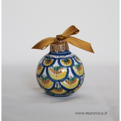 Hand painted ceramic Christmas ball with blue, gold and...