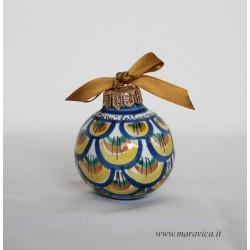 Pallina di Natale in ceramica decorata a mano decoro...