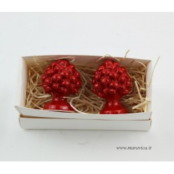 2 Sicilian red pinecones in Caltagirone ceramic christmas...