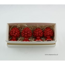 4 Sicilian red pine cones in Caltagirone ceramic...
