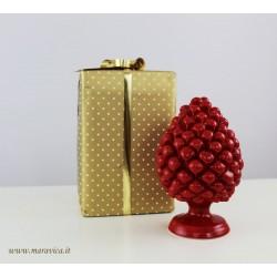 Pigna rossa ceramica di Caltagirone realizzata e dipinta...