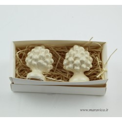 2 Sicilian ivory pinecones in Caltagirone ceramic...