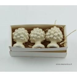3 Sicilian ivory pine cones in Caltagirone ceramic...