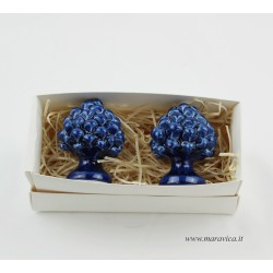 set of 2 Sicilian blu pinecones in Caltagirone ceramic...