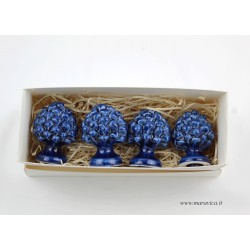 set 4 Pigne siciliane blu in ceramica di Caltagirone in...