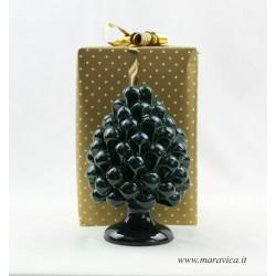 Green ceramic sicilian pine cone handmade in Caltagirone