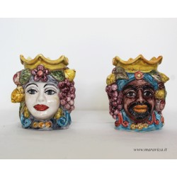Hand painted decorated Moorish heads in Sicilian ceramic