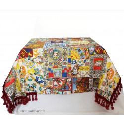Sicilian moorish heads printed cotton tablecloth
