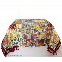 Sicilian moorish heads printed cotton tablecloth