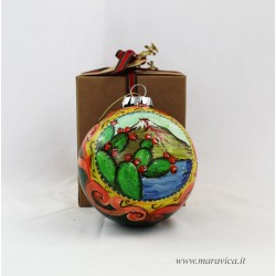 Hand painted ceramic Christmas ball with Etna and prickly...