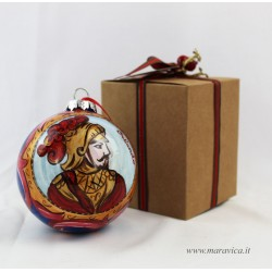 Hand painted ceramic Christmas ball with Orlando pupi...
