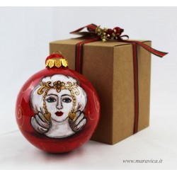 Hand painted ceramic Christmas ball with moorish heads...