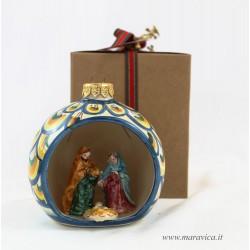Pallina di Natale in ceramica dipinta a mano con natività
