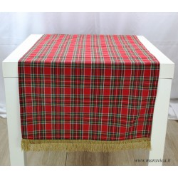 Christmas table runner in red tartan with gold lurex fringe
