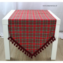 Christmas table runner in red tartan with trimming