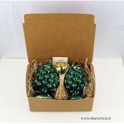Green ceramic sicilian pine cone handmade in Caltagirone...