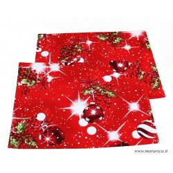 Set 2 Red Christmas breakfast placemats