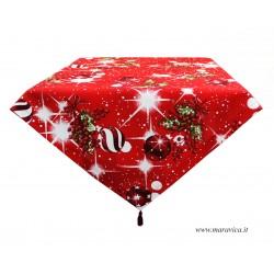 Tovaglia centrotavola fantasia natalizia con nappine rosse