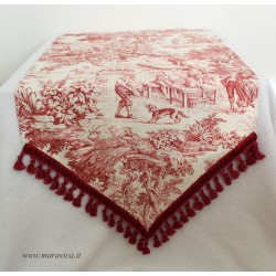 Country chic toile de jouy table runner with burgundy fringe