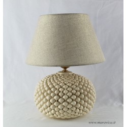 Sicilian ivory pine cone lamp in Caltagirone ceramic with...