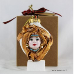 Hand-painted ceramic Christmas decoration with moorish...