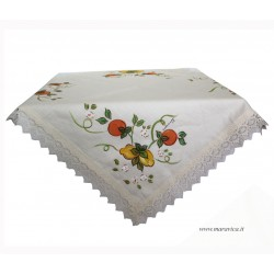 Hand painted linen and lace tablecloth with orange and...